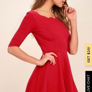Red scalloped lulus dress in xs
